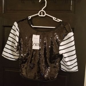 Zara sequin tie back top
